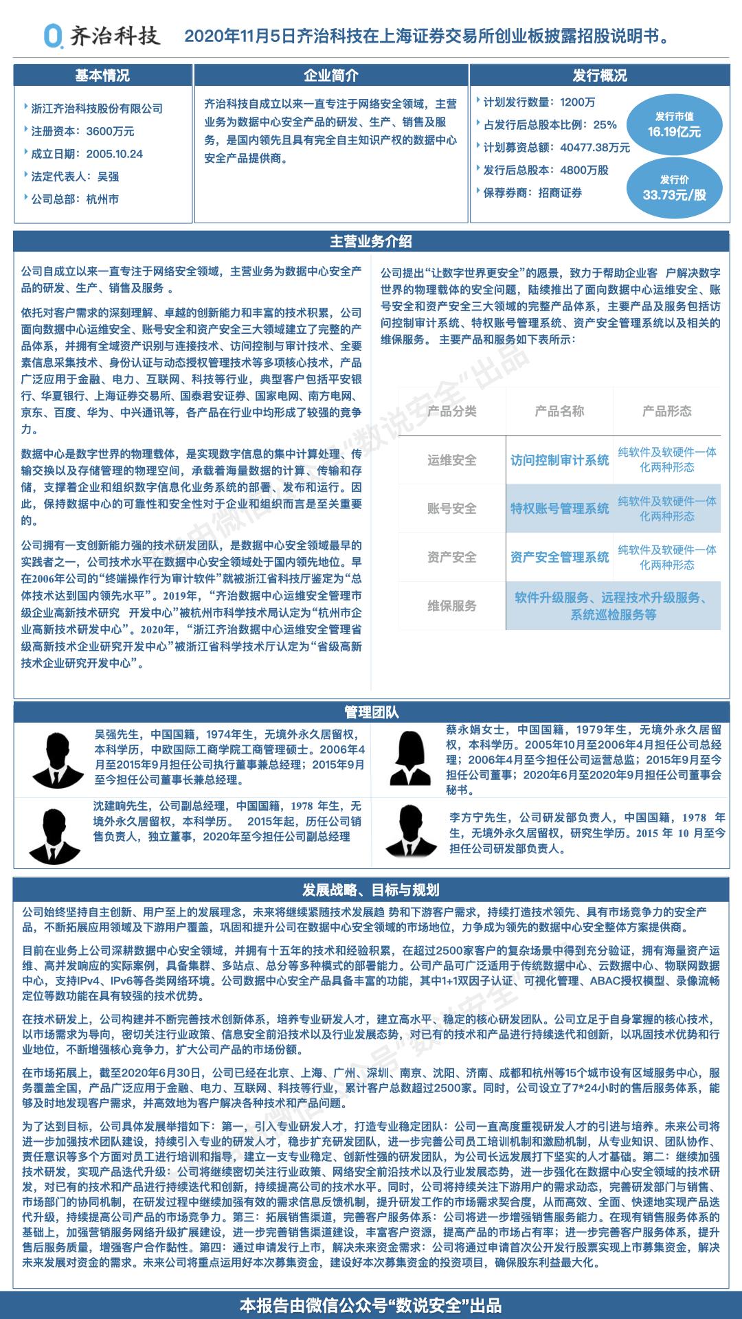 齐治科技申报科创板IPO,定位数据中心安全